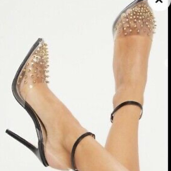 Black Gold Studded Perspex Heels